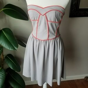 Gray & Coral Strapless Dress